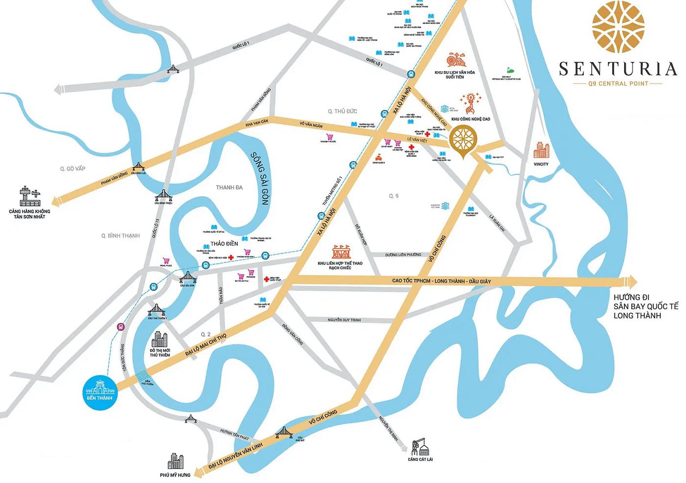 Vị trí dự án Senturia Q9 Central Point Quận 9 by Tiến Phước Group